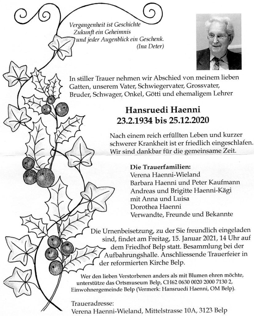Todesanzeige Hansruedi Haenni